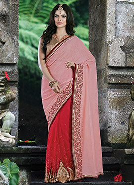 Red N Baby Pink Half N Half Saree