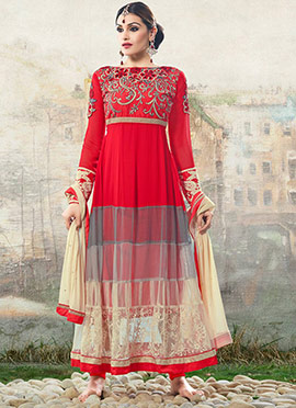 Red N Beige Anarkali Suit