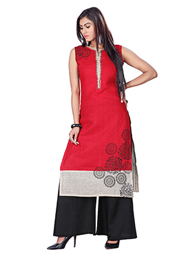 Red N Beige Cotton Jute Palazzo Suit