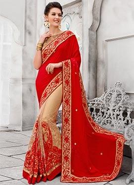 Red N Beige Embroidered Half N Half Saree