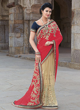 Red N Beige Embroidered Half N Half Saree