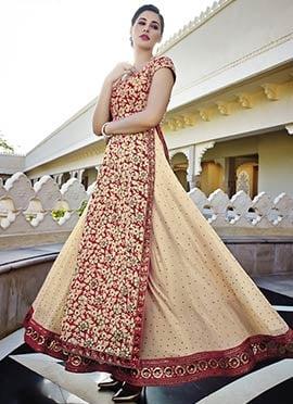 Red N Beige Embroidered Salwar Suit