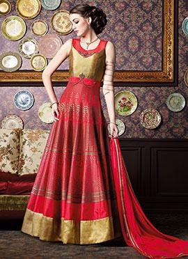Red N Beige Floor Length  Anarkali Suit