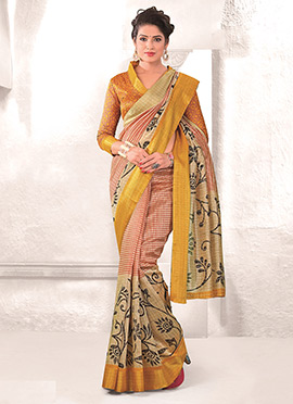 Red N Beige Mysore Art Silk Printed Saree