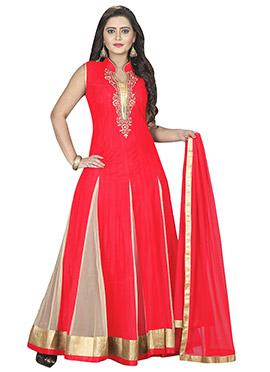 Red N Beige Net Anarkali Suit