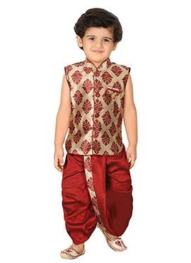 Maroon N Beige Silk Blend Boys Sherwani