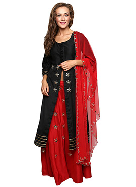 Red N Black Cotton Silk Long Choli Lehenga