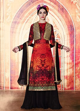 Red N Black Embroidered Palazzo Suit