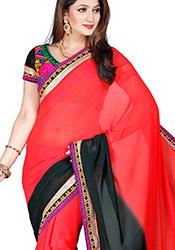 Red N Black Georgette Saree