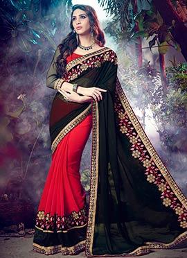 Red N Black Half N Half Saree