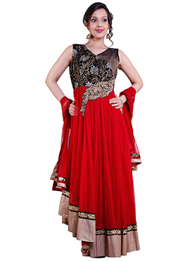 Red N Black Net Anarkali Suit