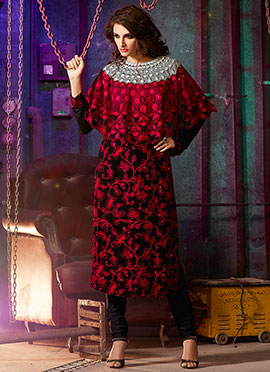 Red N Black Poncho Style Straight Suit