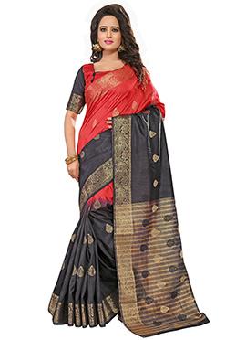 Red N Black Zari Saree