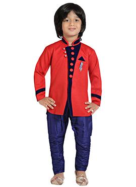 Red N Blue Breeches Kurta Pyjama