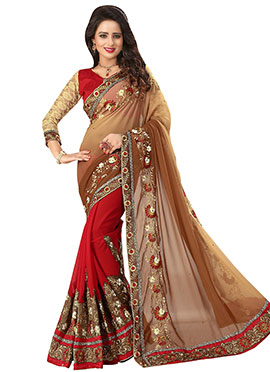 Red N Brown Ombre Half N Half Saree