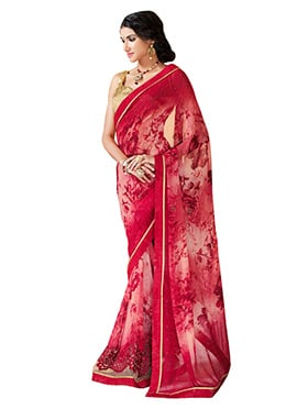 Red N Cream Ombre Georgette Printed Saree