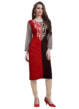 Red N Dark Brown Georgette Kurti