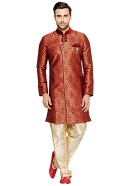 Red N Gold Art Silk Indowestern Sherwani