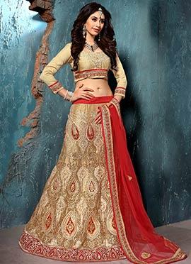 Red N Golden Beige Net Embroidered Lehenga Choli