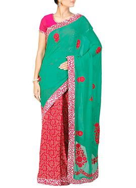 Red N Green Embroidered Half N Half Saree