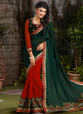 Red N Green Half N Half Saree