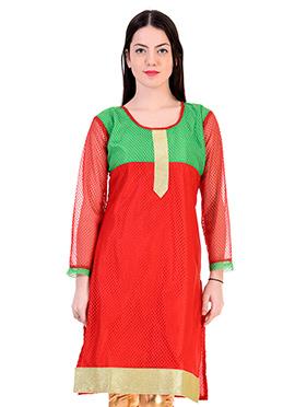 Red N Green Net Kurti