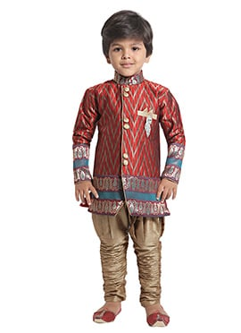 Red N Grey Boys Indowestern Sherwani