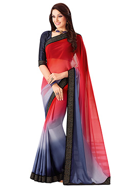 Red N Grey Satin Saree