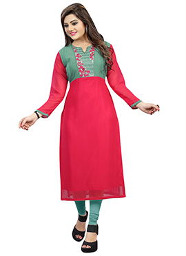 Red N Jade Green Georgette Embroidered Long Kurti