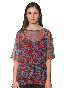 Red N Light Sky Blue Label Ritu Kumar Top