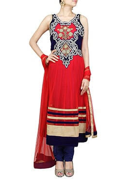 Red N Navy Blue Net Anarkali Suit