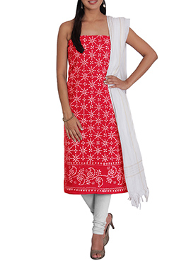 Red N Off White Cotton Printed Churidar Suit