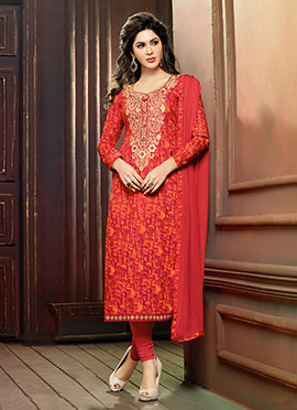 Red N Orange Cambric Cotton Straight Suit