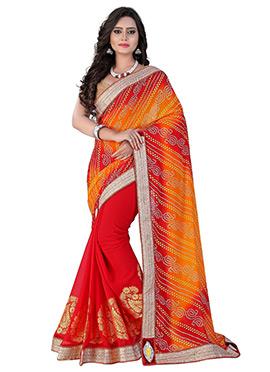 Red N Orange Half N Half Bandhini Saree