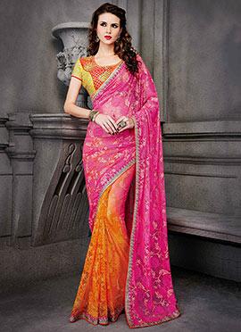 Pink N Orange Half N Half Saree