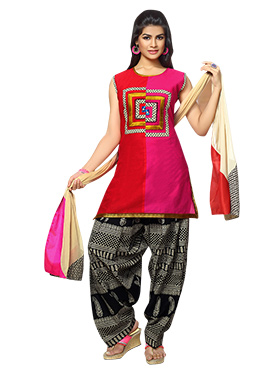 Red N Pink Art Silk Patiala Suit