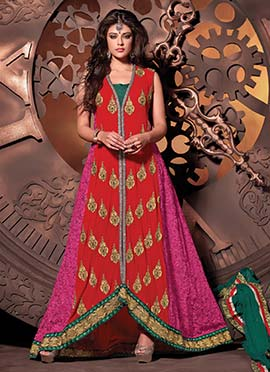 Red N Pink Embroidered Anarkali Suit