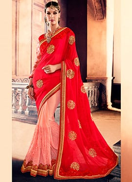 Red N Pink Embroidered Half N Half Saree