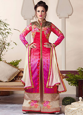 Red N Purple Ombre Art Silk Palazzo Suit