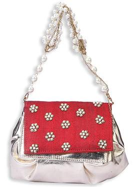 Red N Silver Elegant Pearl Studded Hand Bag