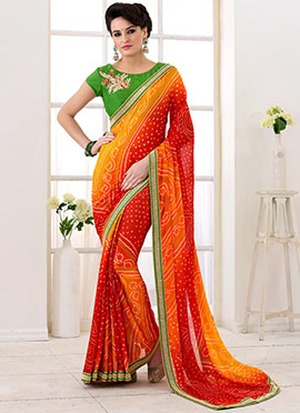 Red N Yellow Georgette Bandhini Saree