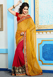 Red N Yellow Georgette Half And Half Saree