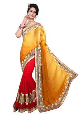 Red N Yellow Half N Half Saree
