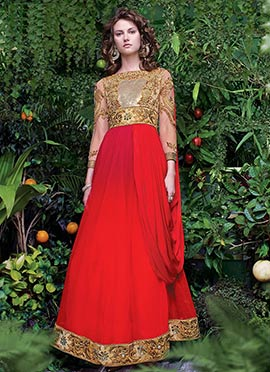 Red Net Draped Gown