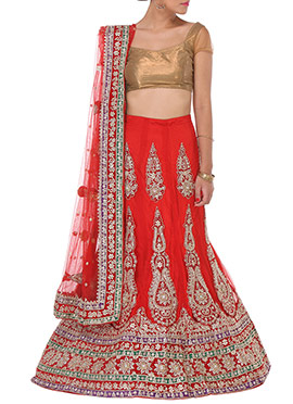 Red Net Embellished A Line Lehenga Choli