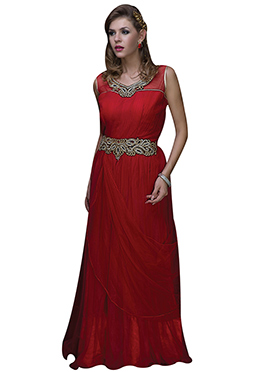 Red Net Embellished Anarkali Gown