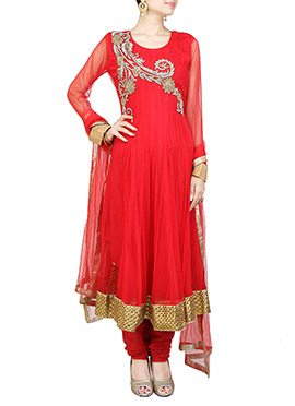 Red Net Embellished Kalidar Suit