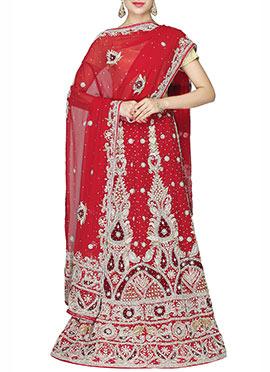 Red Net Embellished Lehenga Choli