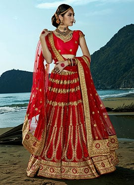 Red Net Embroidered A Line Lehenga Choli