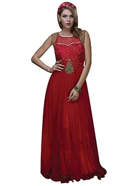 Red Net Embroidered Anarkali Gown